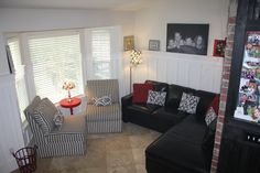 Red, Black and White Living room