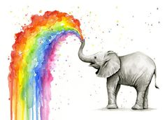 Baby Elephant Spraying Rainbow Art Print by Olga Shvartsur. All prints are professionally printed, packaged, and shipped within 3 - 4 business days. Choose from multiple sizes and hundreds of frame and mat options.