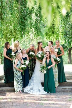 Bridesmaid fashion, mismatched green bridesmaid dresses, chic bridal party, white floral wedding bouquets // Asya Photography Love the green Wedding Bridesmaid Bouquets, Patterned Bridesmaid Dresses, Green Wedding Dresses, Mismatched Bridesmaid Dresses, Wedding Colors, Floral Wedding, Bride Bouquets, Different Colour Bridesmaid Dresses, Dress Wedding