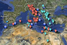 In this documentary, in the form of a Google Map, you can zoom in on the World War II battlefields on the Mediterranean and North African Front from June of 1940 to April of 1945. The Blue locations are Axis victories while the Red locations are Allied victories. Included in this map are the Siege of Malta, the invasions of Yugoslavia and Greece, Battle of Monte Cassino, the Battle of Alam el Halfa, Operation Crusader, and Operation Shingle.  http://myreadingmapped.blogspot.com