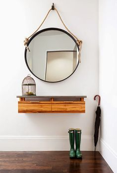 Floating Console - modern - entry - new york - Wud Furniture Design. Don't have room for a small entry table? Hallway Decorating, Entryway Decor, Entryway Ideas, Decorating Ideas, Open Entryway, Entryway Mirror, Entryway Cabinet, Apartment Entryway, Entry Hallway