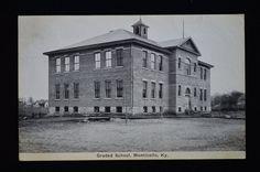 """1912 Grade School Monticello KY Kentucky Picture Postcard """"at Monticello"""" Rain"""