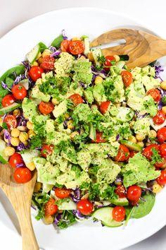 SMASHED AVOCADO AND TAHINI SALAD Mediterranean Quinoa Salad, Avocado Pasta, Smashed Avocado, Protein Pack, Tomato Salad, Salad Bowls, Tahini, Healthy Cooking, Salad Recipes