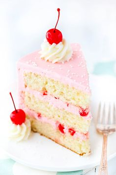 This Cherry Almond Layer Cake is made with a light and fluffy almond cake, cherry frosting and little bits of maraschino cherries! It's a totally under-rated flavor combo that you have to try! Cherry And Almond Cake, Cherry Cake Recipe, Almond Cakes, Coconut Cakes, Cherry Desserts, Just Desserts, Cherry Frosting, Cake Recipes, Dessert Recipes