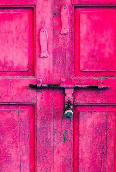 Primitive pink door