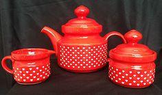 Red Polka Dot Teapot, creamer and sugar bowl  Pottery & Glass