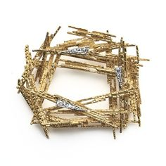 Crima Creations YELLOW GOLD BROOCH, 1967 Yellow Gold Textured Wire Brooch set with Diamonds