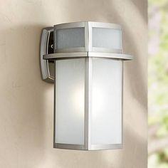"Delevan 13"" High Brushed Nickel Outdoor Wall Light - #3C777   Lamps Plus"