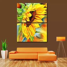2 Panel Modern Printed Sunflower Oil Painting Picture Cuadros Canvas Art Wall Paintings Flower For Living Room No Frame Wall Painting Frames, Wall Painting Flowers, Hand Painting Art, Wall Paintings, Sunflower Pictures, Sunflower Art, Sunflower Canvas Paintings, Canvas Art, Oil Painting Pictures