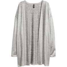 H&M Fine-knit cardigan (335 MXN) ❤ liked on Polyvore featuring tops, cardigans, silver, h&m, loose cardigan, long sleeve tops, h&m tops and loose tops