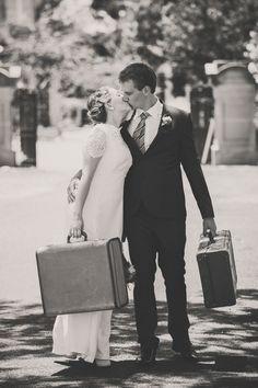 Bride & Groom. Vintage suitcases.