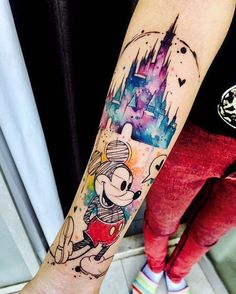 50 Disney Tattoos For Those Who Don& Want To Grow Up - Home Decorating More - Mickey Mouse Disney tattoo motif - Disney Tattoo Motive, Disney Tattoos Small, Disney Sleeve Tattoos, Small Tattoos, Tattoo Disney, Disney Castle Tattoo, Unique Half Sleeve Tattoos, Disney Quote Tattoos, Disney Couple Tattoos