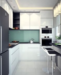 Spare No Expense With Small Kitchen Remodeling – Open Kitchen Designs Kitchen Design Open, Interior Design Kitchen, Mini Kitchen, New Kitchen, Black Kitchens, Home Kitchens, Small Kitchens, Küchen Design, Home Decor Kitchen