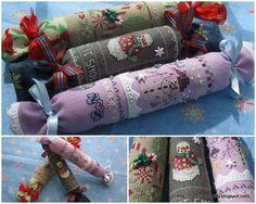 Winter themed cross stitch needle rolls designed by Lorri Birmingham