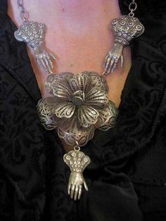 Antique Mexican Sterling Silver Filigree Flower