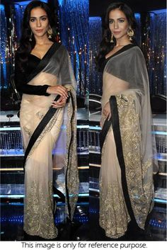 Bollywood Style Humaima Malik Net Saree In Off White and Black Colour NC875