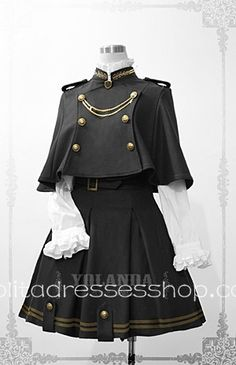 Cheap Yolanda Uniform Style Velvet Lolita Outfit with Cape Sale At Lolita Dresses Online Shop