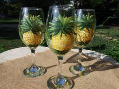 Ananász szemüveg Kézzel festett ananász bor által 800ChestnutStreet