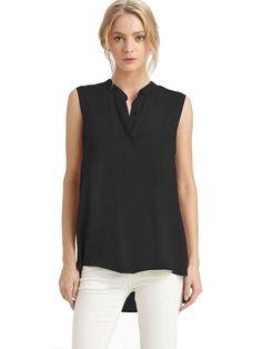 b573cf2c414d4 Vince Sleeveless Silk Blouse With Mandarin Collar at Amazon Women s  Clothing store  Mandarin Collar