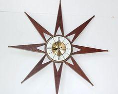 1950's MID CENTURY MODERN Eames Era Machine Age Retro Star Starburst Elgin Clock