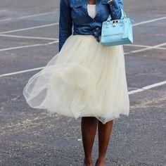 """Claire Champagne Tulle Skirt - Length 26"""" (2)"""