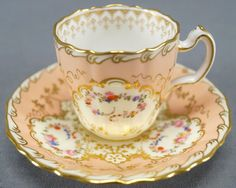 Minton Hand Colored Floral & Gilt Peach Demitasse Cup & Saucer C. 1891 - 1902