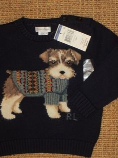 RALPH LAUREN  POLO DOG  KNITTED  SWEATER  BABY BOY 18 MONTHS  NAVY BLUE  NEW    #PoloRalphLauren #Pullover