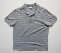 LACOSTE MENS 7 XL GRAY STRIPED POLO SHIRT #Lacoste #PoloRugby