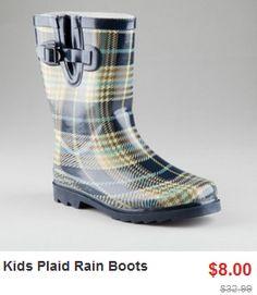kids plaid rain boots