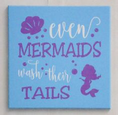 Kids Bath Mermaid Sign   Even Mermaids Wash Their Tails   Fun Childrenu0027s  Sign, Aqua Mermaid Bathroom, Aqua Bathroom Decor, Funny Girls Bath