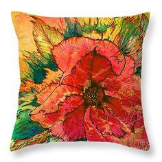 "Christmas Flower Throw Pillow 14"" x 14"""