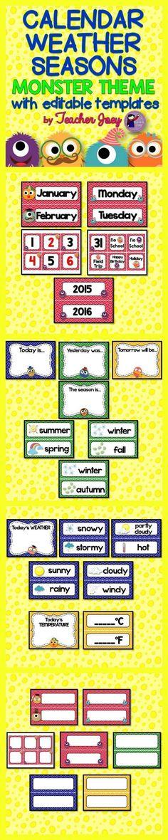 Monster Theme Calendar Set Seasons Weather #teacherspayteachers #backtoschool