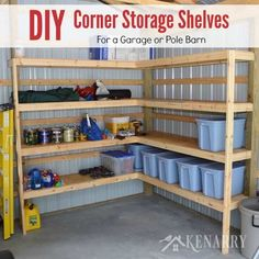 39 DIY Corner Shelves Ideas for Garage Storage. As you add an increasing number of shelves to the faces of the garage, before long you'll find yourself with less space. Since these shelves are g. Diy Pole Barn, Pole Barn Garage, Garage Shed, Garage Workshop, Man Cave Pole Barn, Gym In Garage, Garage Doors, Small Garage, Garage Kits