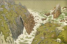 Henri Rivière. La Falaise (The Cliff). Plate 3 for uLes Aspects de la Nature/u. Color lithograph, 1897. Published by Eugène Verneau, Paris. Signed in the stone. 21-1/2 x 32-5/8 inches. 28534