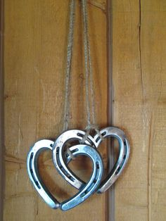 Hanging Horseshoe Hearts - Horseshoe Art - Horseshoe Heart - Wall Art - Wedding gift - Bridal Gift - Heart Wall Art - Heart Wall Decor - Show your love with these 2 small hearts that have been welded together and hung with twine. Welding Art Projects, Welding Crafts, Metal Projects, Welding Ideas, Diy Projects, Metal Crafts, Blacksmith Projects, Blacksmith Shop, Horseshoe Projects