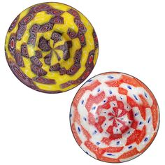 Fratelli Toso Murano Millefiori Flower Mosaic Italian Art Glass Ring Dishes | From a unique collection of antique and modern bowls and baskets at https://www.1stdibs.com/furniture/decorative-objects/bowls-baskets/