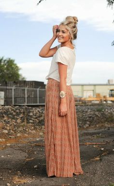 A Simple and cute printed skirt with white shirt