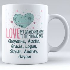 Personalized Love My Grandkids To The Moon And Back with Grandkids' Names Ceramic Mug