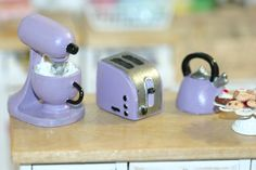 Dollhouse Miniature Kitchen appliances: Mixer, toaster and  kettle, lilac by…