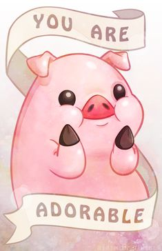 Most popular tags for this image include: adorable, pig, gravity falls, pink and pato