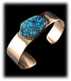 Paiute Turquoise Jewelry  - 14k Gold Bracelet with top gem grade natural Paiute Turquoise from Nevada.  Native American artist Will Dennetdale really put a nice stone in this museum quality bracelet.