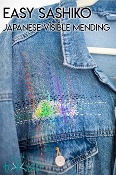 repair clothes Easy, colorful sashiko Japanese visible mending technique used to patch a jean jacket with a rainbow of color. Boro Stitching, Hand Stitching, Textiles, Artisanats Denim, Shashiko Embroidery, Visible Mending, Make Do And Mend, Embroidery On Clothes, Japanese Embroidery