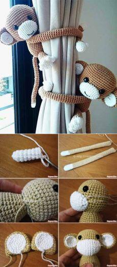 32 Ideas crochet amigurumi monkey curtain ties for 2019 Crochet Amigurumi, Amigurumi Patterns, Crochet Toys, Crochet Baby, Knit Crochet, Motif Mandala Crochet, Crochet Motifs, Crochet Patterns, Crochet Crafts