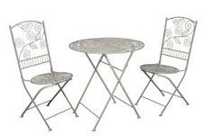 Bistroset, Tisch und Stühle, Garnitur, Metall antikweiß