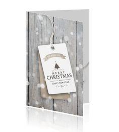 Kerstkaart zakelijk steigerhout label