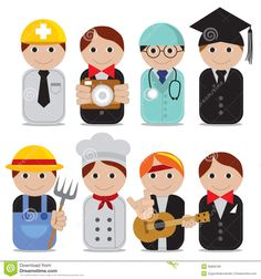 Set Of People Occupations Icons. Stock Vector - Illustration of medical, human: 36869799 Kindergarten Projects, Stationary Design, Community Helpers, Biscuit, Medical, Printables, Education, Learning, Drawings