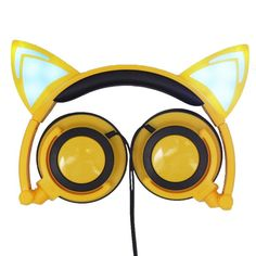 Cat Ear Gaming Headphones Creatives Luminous Earphone Foldable Flashing Glowing Gaming Headset with LED Light For Electronics PC Laptop