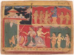 Page from a Bhagavata Purana Manuscript: Krishna Distributes Butter to the Monkeys.  North India(Indian , ca. 1525-50)