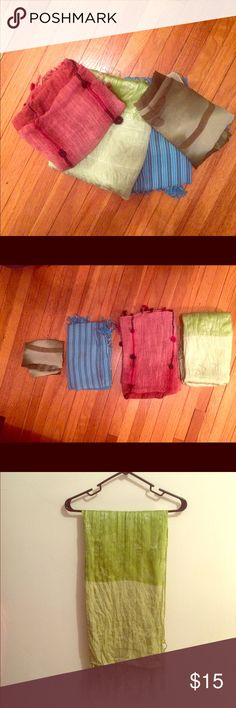 4 scarf bundle Selling a variety of fashion scarves. Blue is 6: inches, pink is 60 inches, light green is 62 inches and dark green is 62 inches (100% silk). All in good condition, rarely worn. Buyer can request mix-and- match from other scarf listing. Accessories Scarves & Wraps