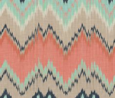Large Scale Ikat Chevron in Mint, Coral and Navy fabric by sparrowsong on Spoonflower - custom fabric
